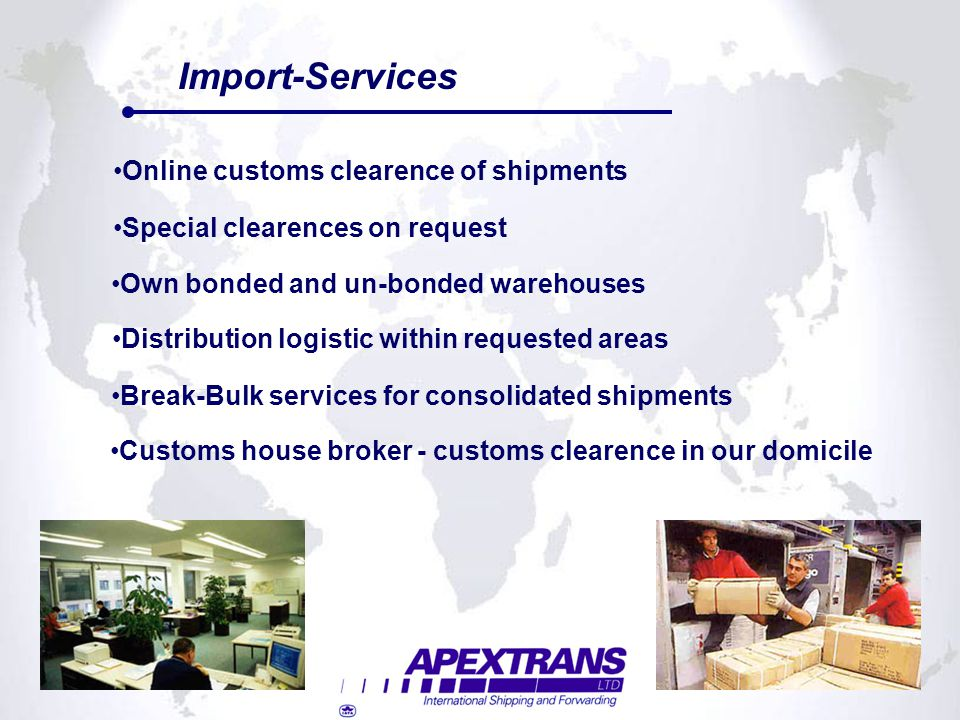 Import-Services Online customs clearence of shipments