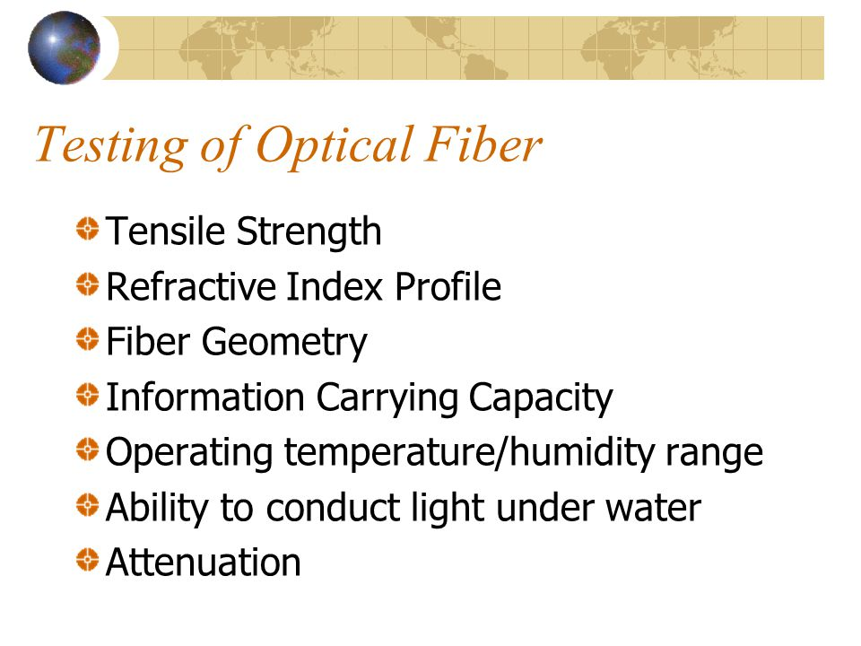 Testing of Optical Fiber