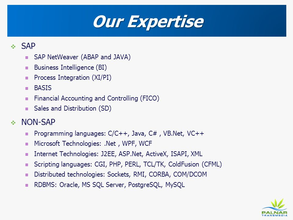 Our Expertise SAP NON-SAP SAP NetWeaver (ABAP and JAVA)