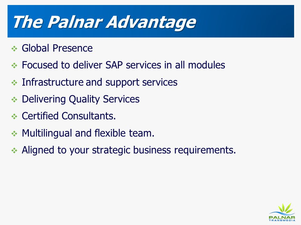 The Palnar Advantage Global Presence