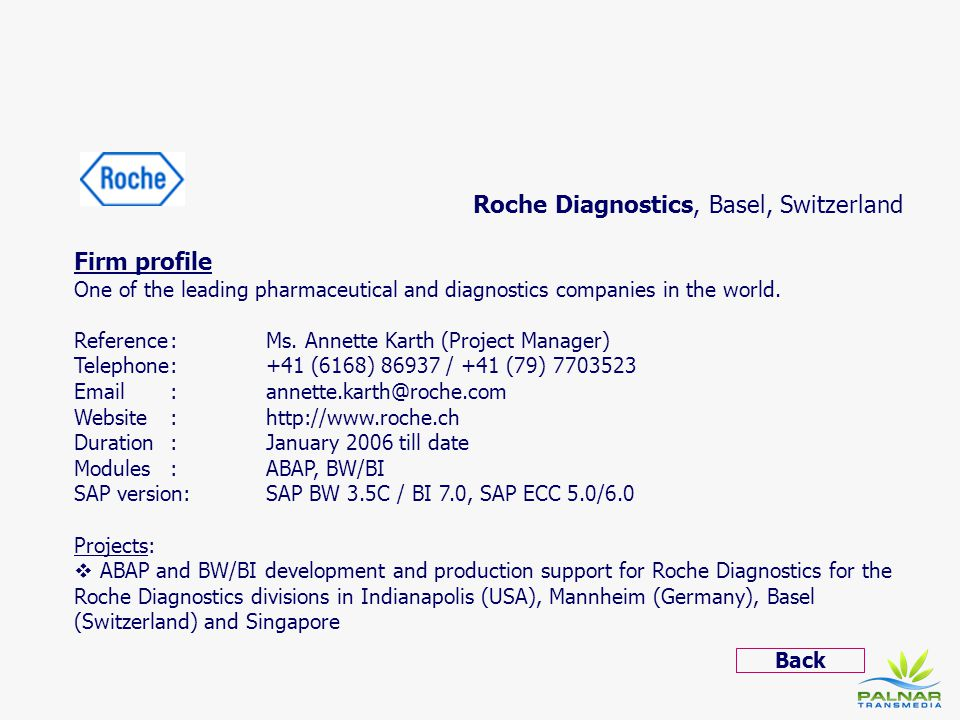 Roche Diagnostics, Basel, Switzerland Firm profile