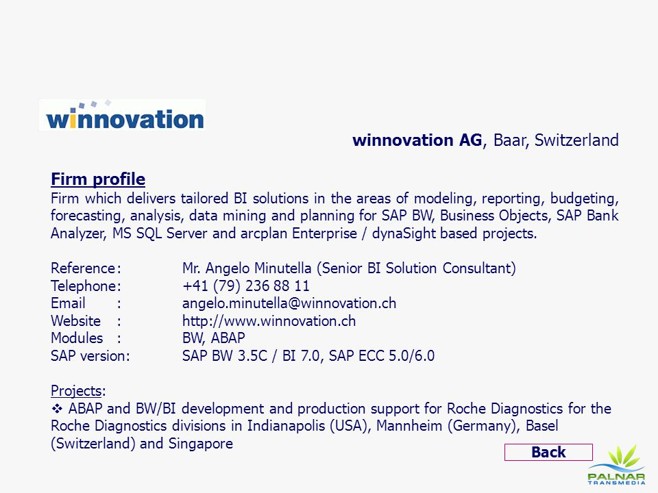 winnovation AG, Baar, Switzerland Firm profile