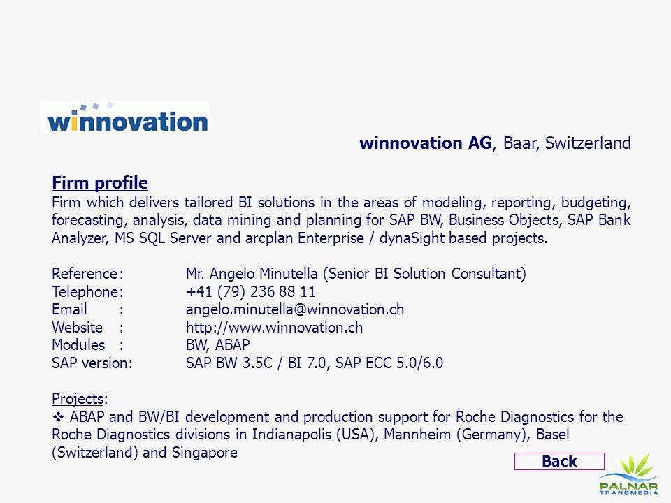 winnovation AG, Baar, Switzerland Firm profile