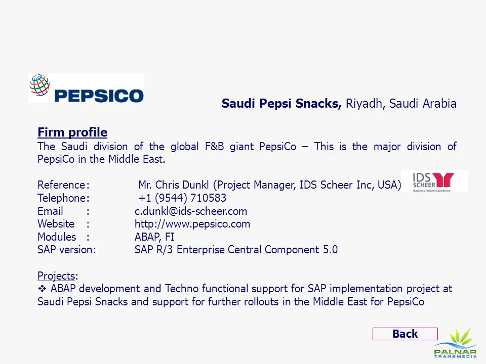 Saudi Pepsi Snacks, Riyadh, Saudi Arabia Firm profile