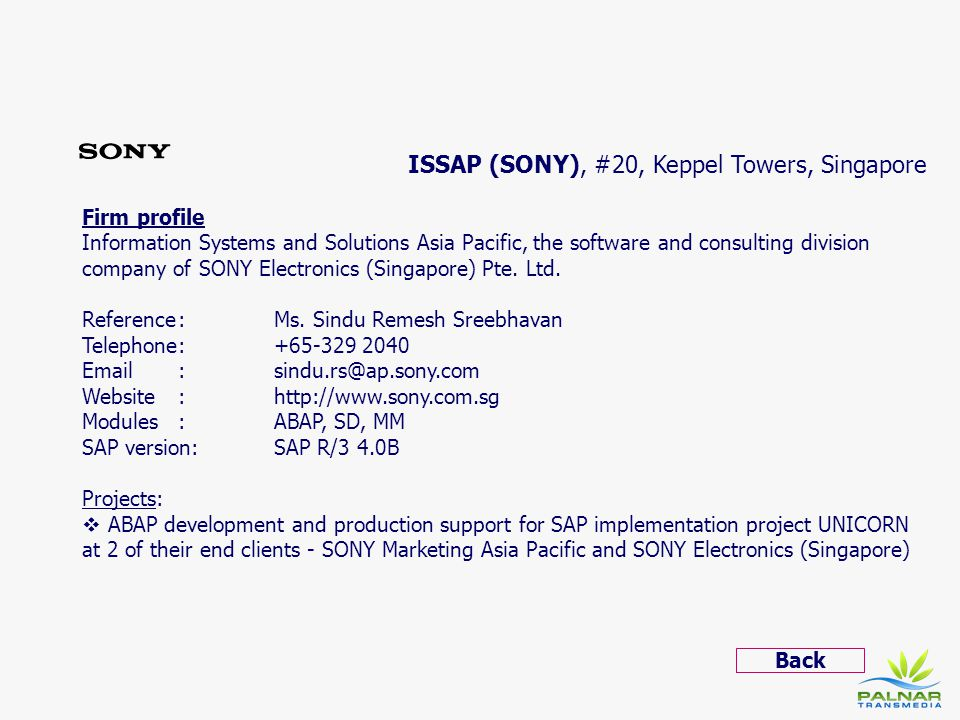 ISSAP (SONY), #20, Keppel Towers, Singapore
