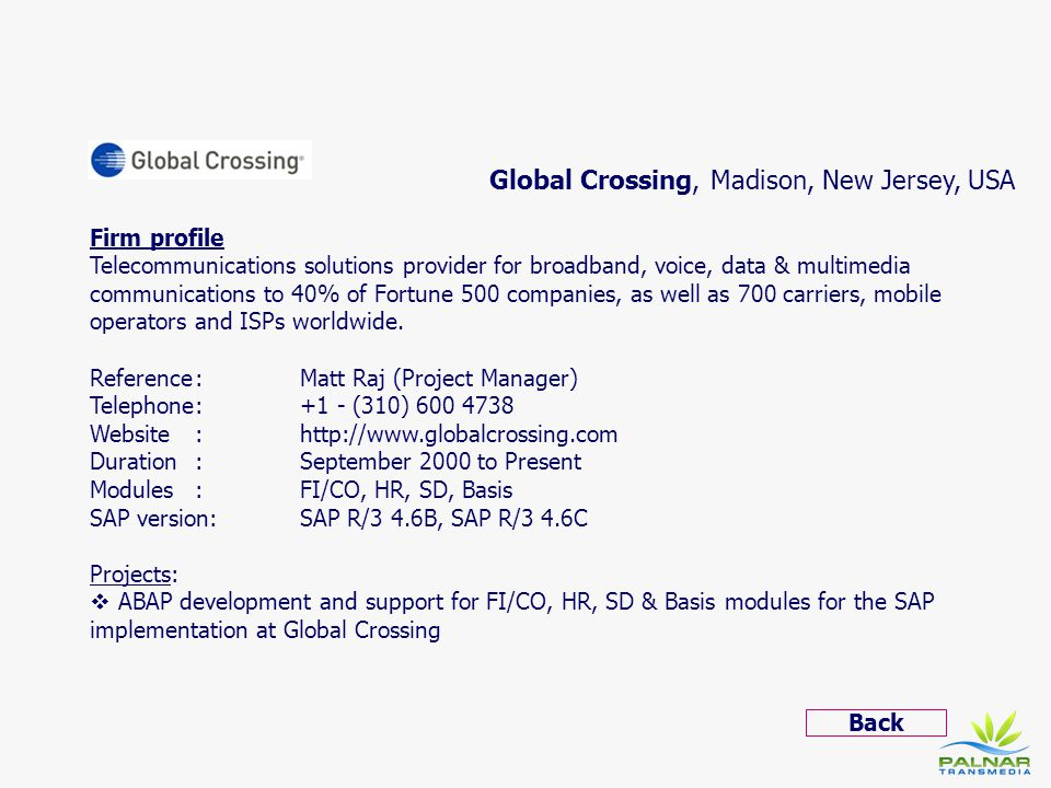 Global Crossing, Madison, New Jersey, USA