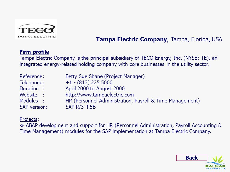 Tampa Electric Company, Tampa, Florida, USA