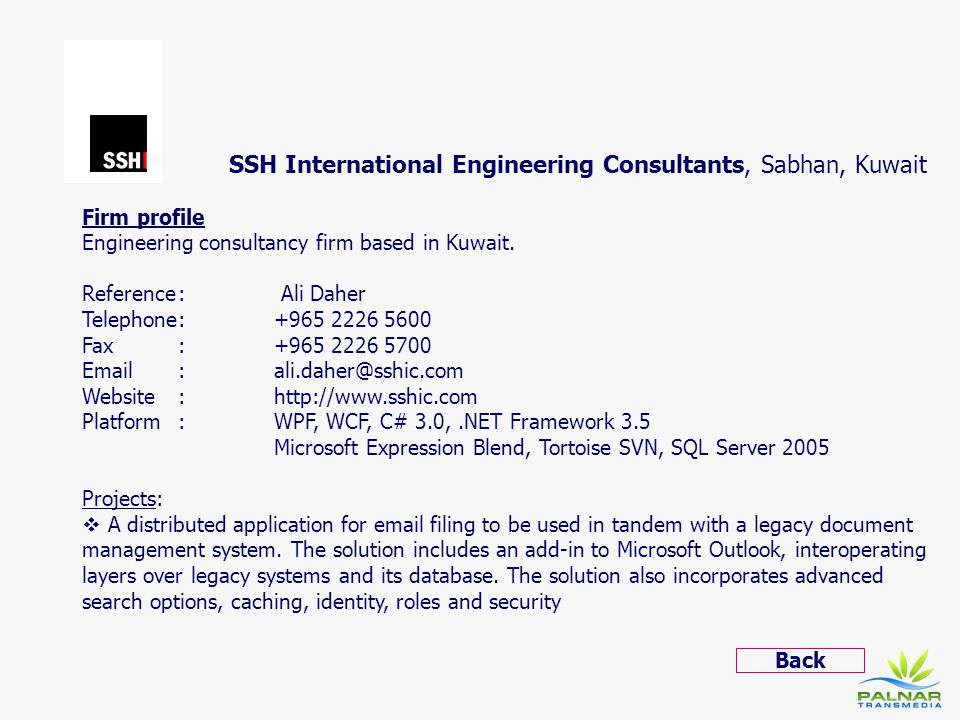 SSH International Engineering Consultants, Sabhan, Kuwait