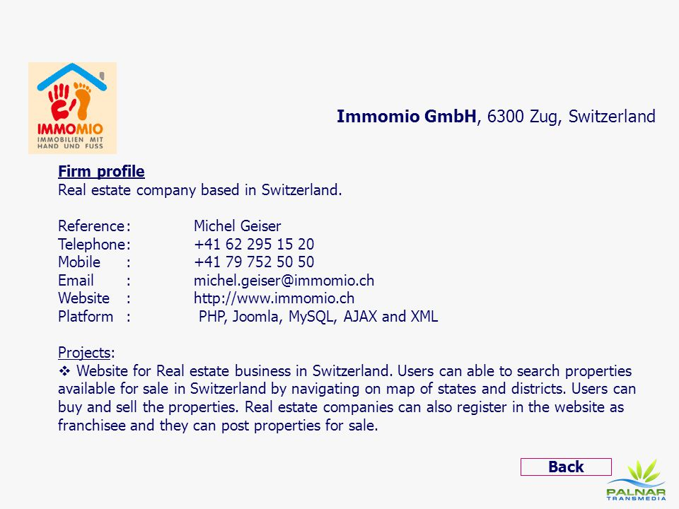 Immomio GmbH, 6300 Zug, Switzerland