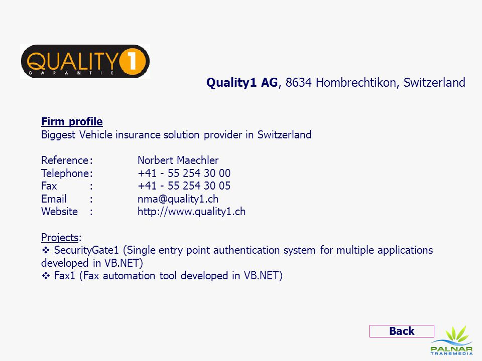 Quality1 AG, 8634 Hombrechtikon, Switzerland