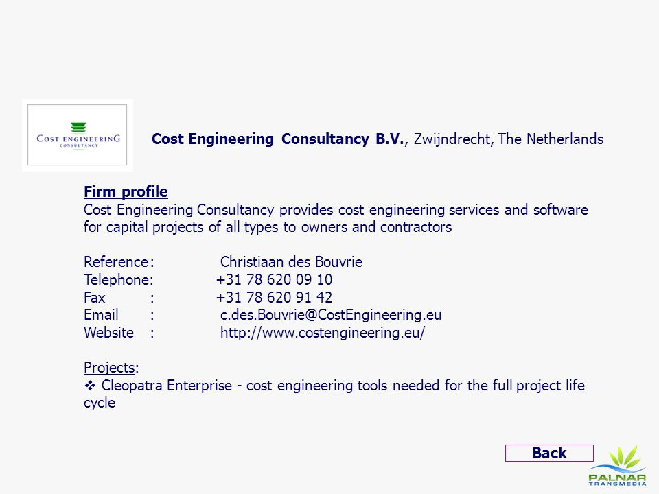 Cost Engineering Consultancy B.V., Zwijndrecht, The Netherlands