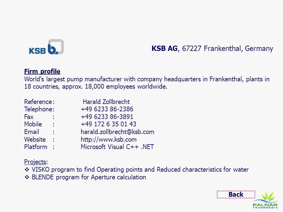 KSB AG, 67227 Frankenthal, Germany