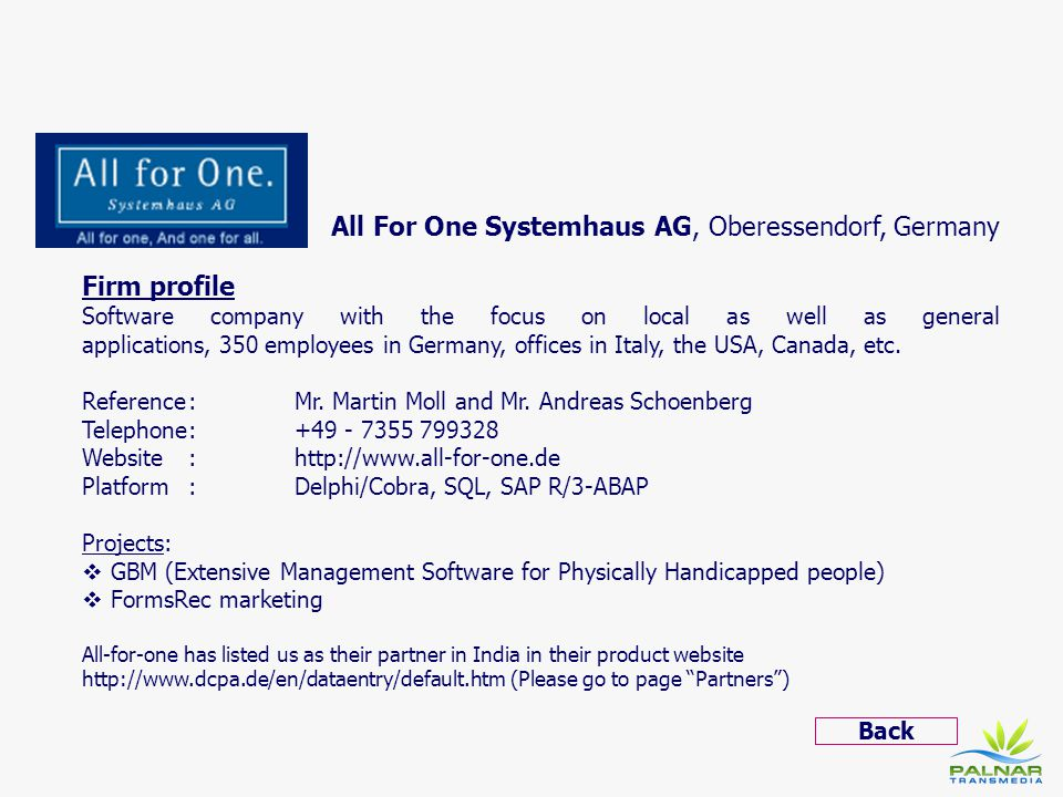 All For One Systemhaus AG, Oberessendorf, Germany