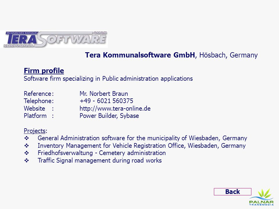 Tera Kommunalsoftware GmbH, Hösbach, Germany Firm profile
