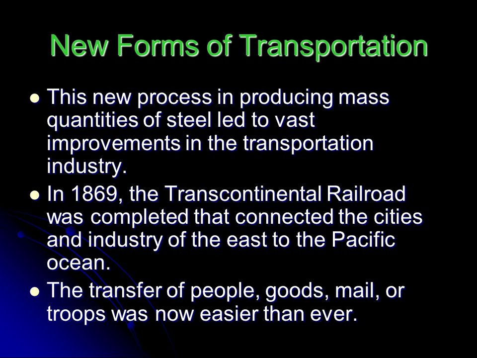 New Forms of Transportation