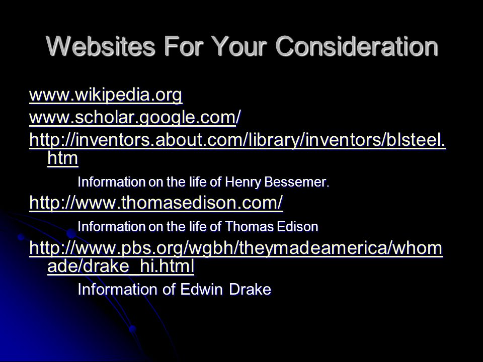 Websites For Your Consideration
