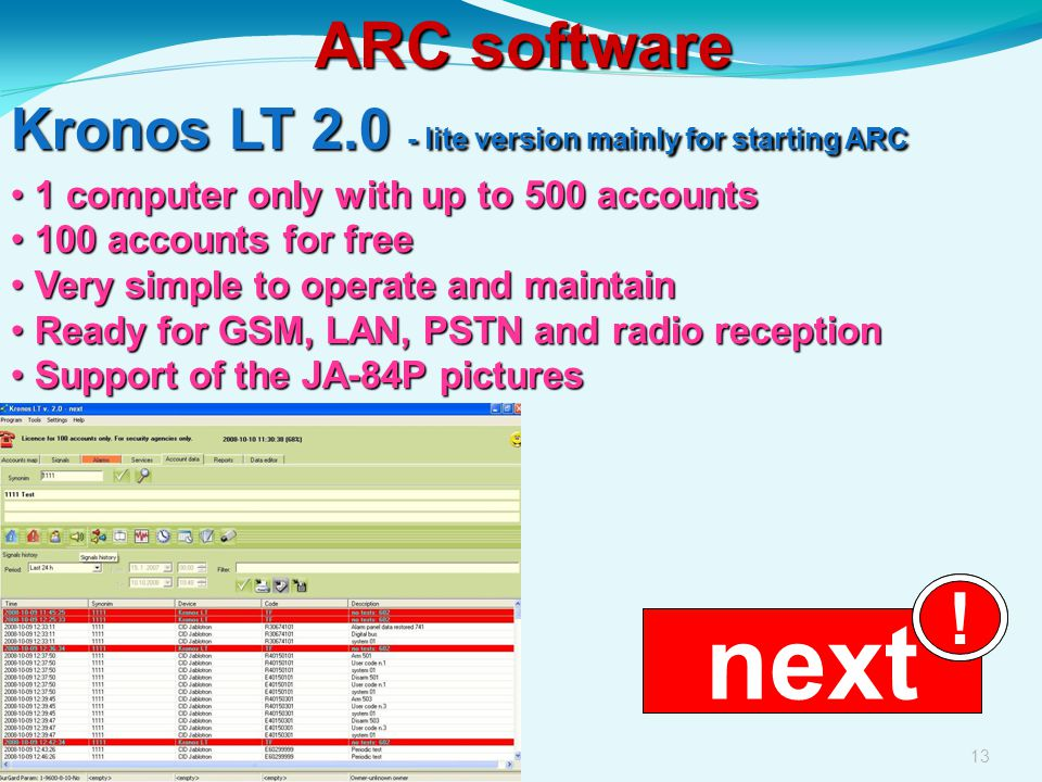 ARC software Kronos LT 2.0 - lite version mainly for starting ARC. 1 computer only with up to 500 accounts.