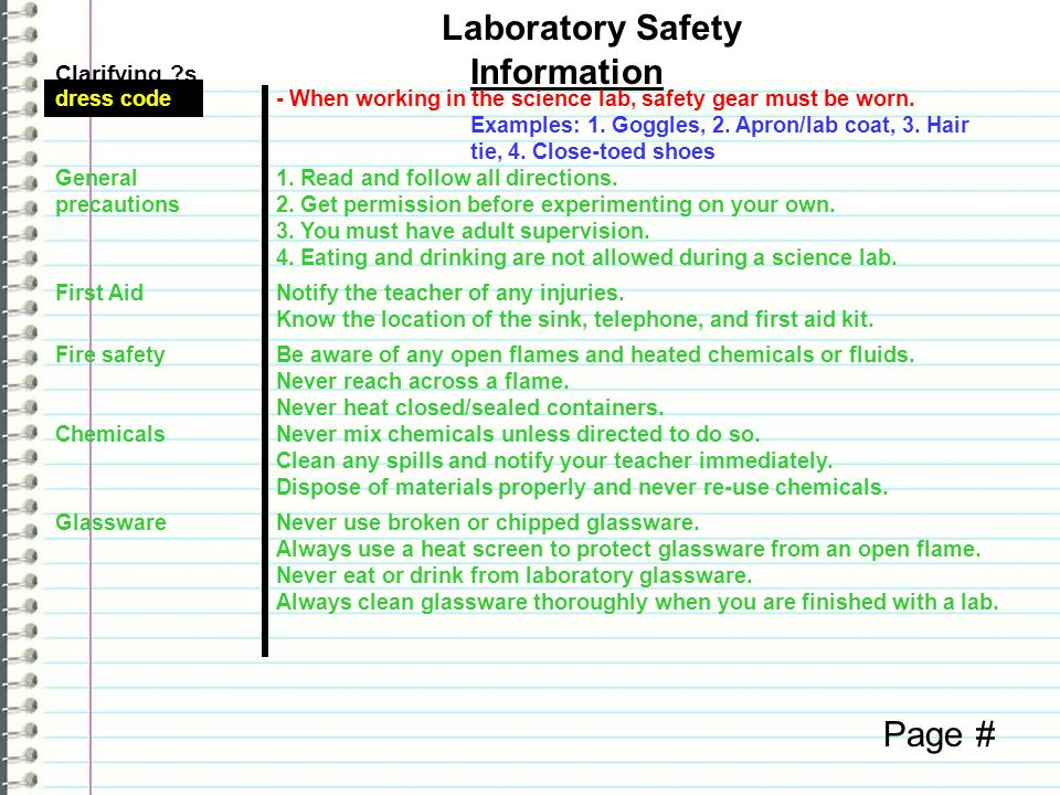 Laboratory Safety Information Page # Clarifying s dress code