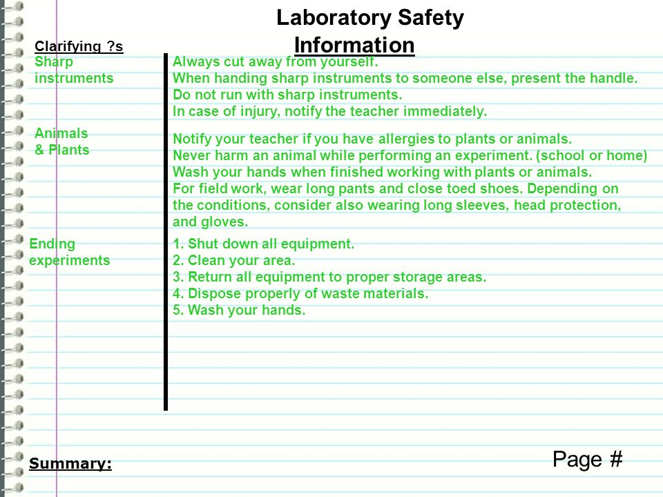 Laboratory Safety Information Page # Clarifying s Summary: