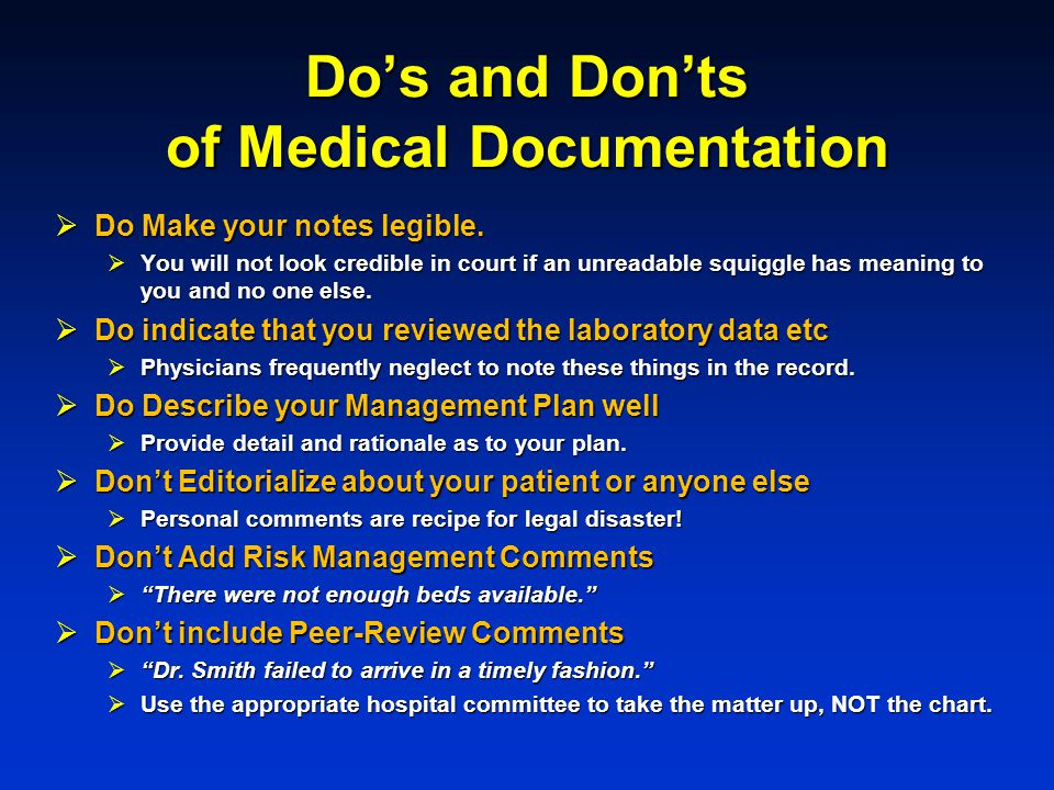 Do's and Don'ts of Medical Documentation
