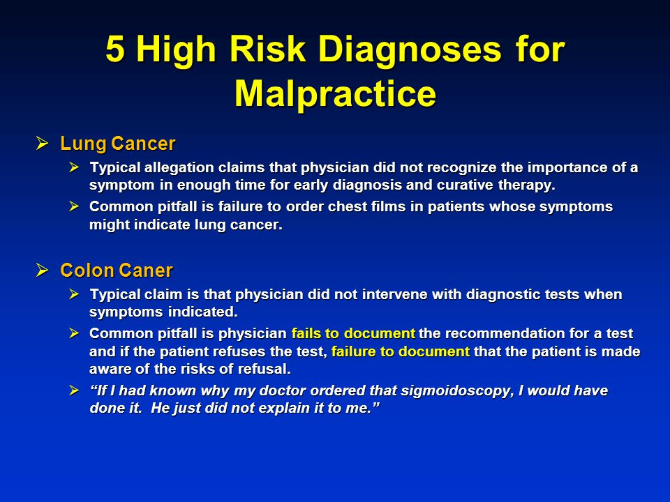 5 High Risk Diagnoses for Malpractice