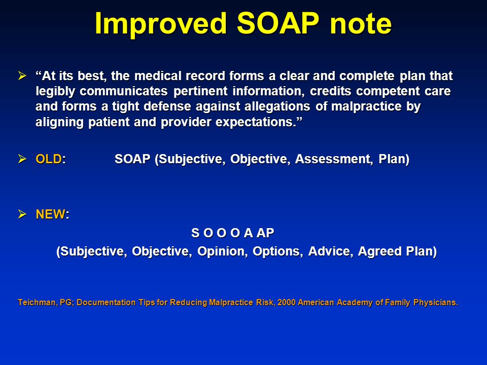 Improved SOAP note