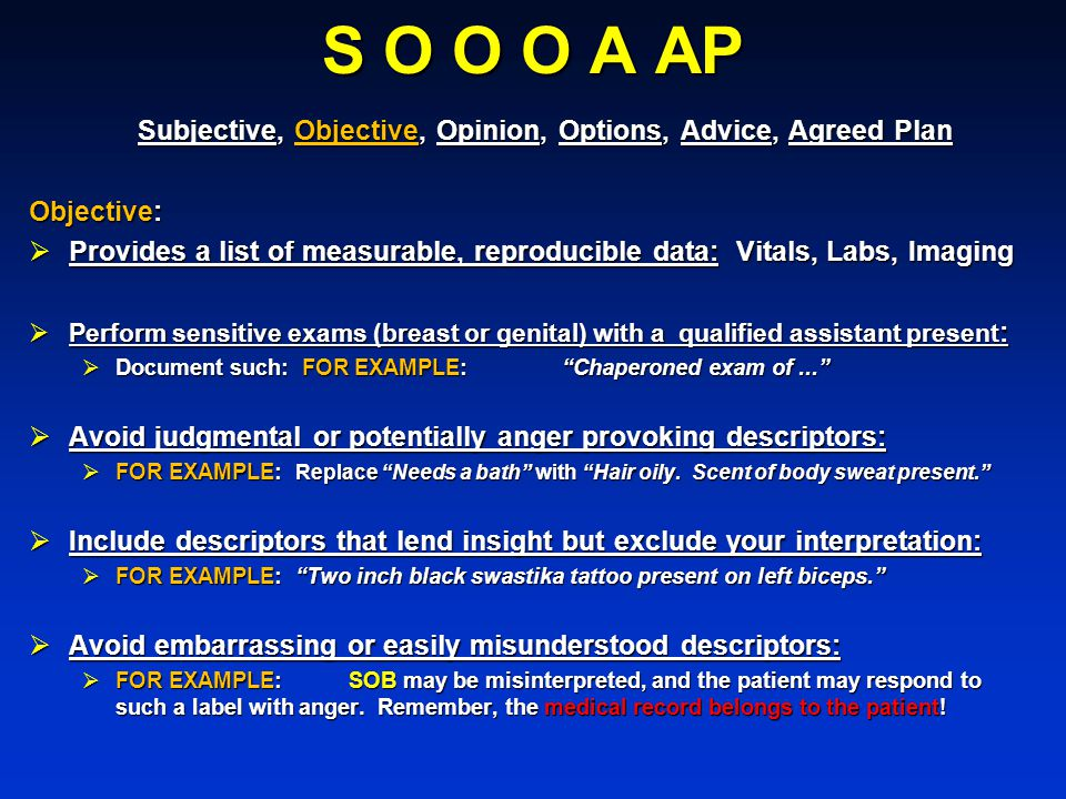 S O O O A AP Subjective, Objective, Opinion, Options, Advice, Agreed Plan. Objective: