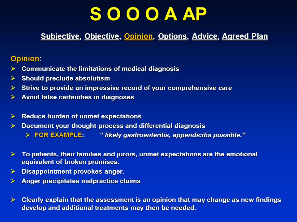 S O O O A AP Subjective, Objective, Opinion, Options, Advice, Agreed Plan. Opinion: Communicate the limitations of medical diagnosis.