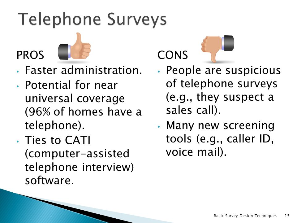 Telephone Surveys PROS Faster administration.