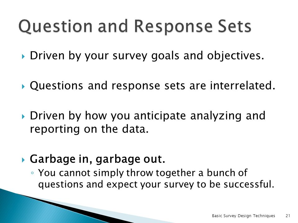 Question and Response Sets