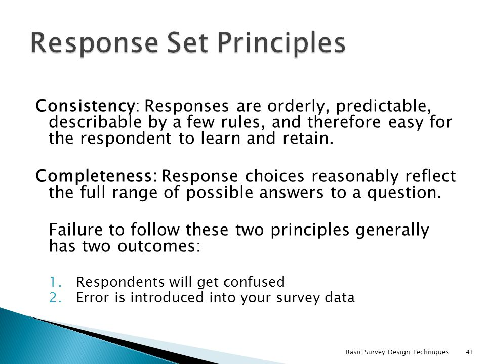Response Set Principles