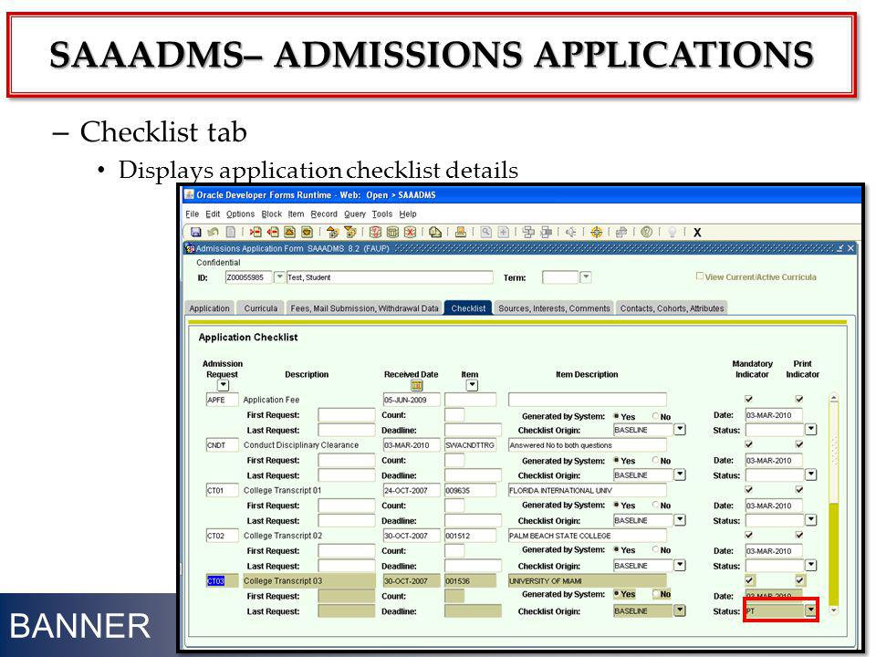 SAAADMS– ADMISSIONS APPLICATIONS