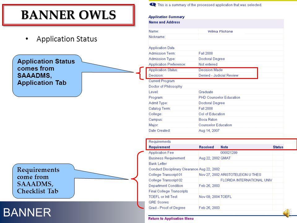 Banner owls BANNER Application Status
