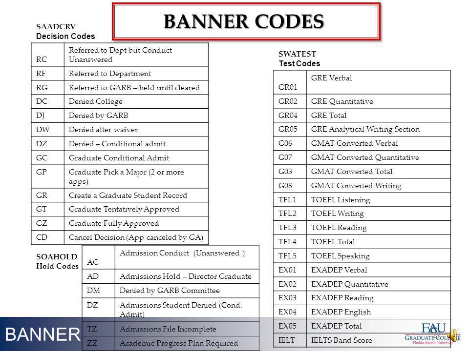 Banner CODES BANNER SAADCRV Decision Codes RC