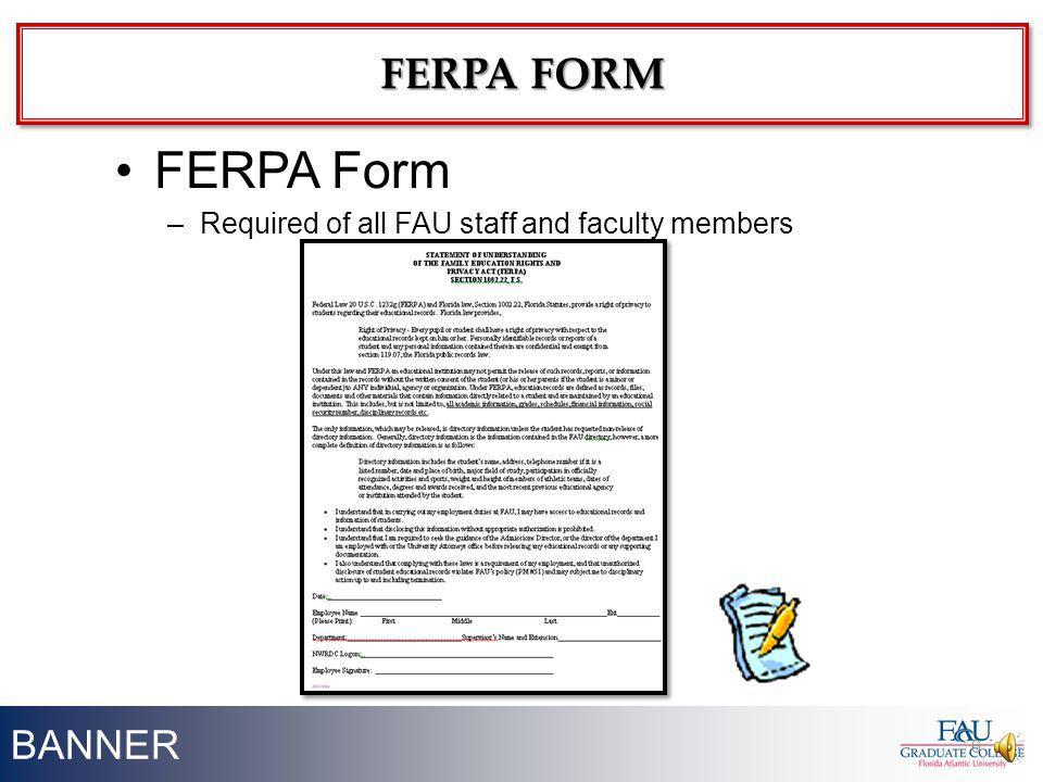 FERPA Form FERPA FORM BANNER