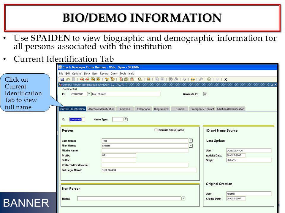 bio/DEMO information BANNER
