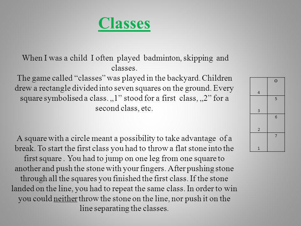 "Classes When I was a child I often played badminton, skipping and classes. The game called classes was played in the backyard. Children drew a rectangle divided into seven squares on the ground. Every square symbolised a class. ""1 stood for a first class, ""2 for a second class, etc. A square with a circle meant a possibility to take advantage of a break. To start the first class you had to throw a flat stone into the first square . You had to jump on one leg from one square to another and push the stone with your fingers. After pushing stone through all the squares you finished the first class. If the stone landed on the line, you had to repeat the same class. In order to win you could neither throw the stone on the line, nor push it on the line separating the classes."