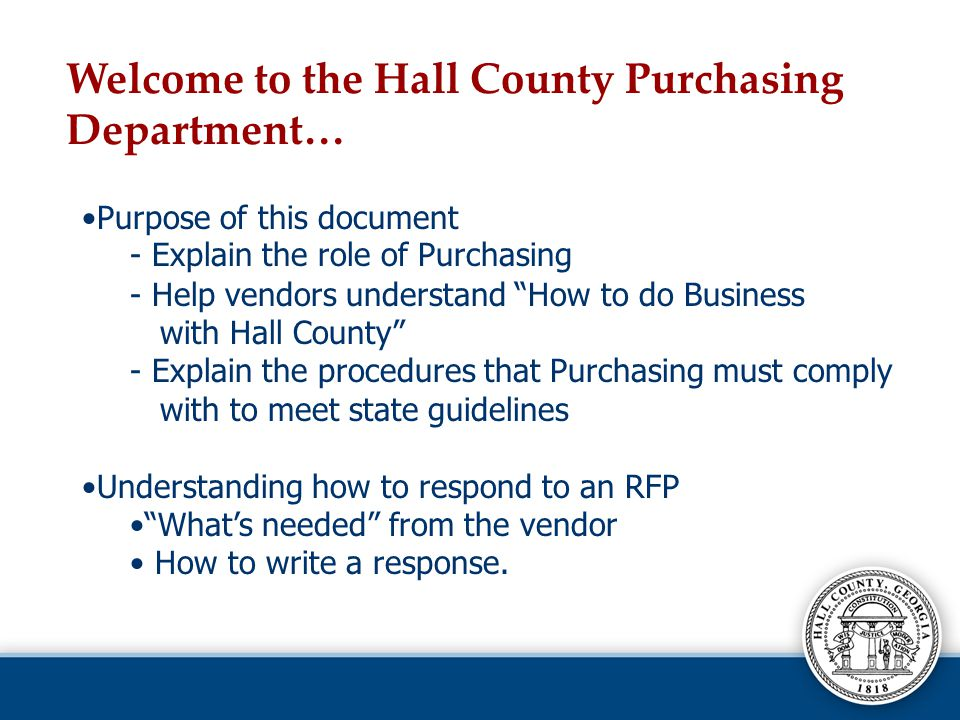 Welcome to the Hall County Purchasing Department…