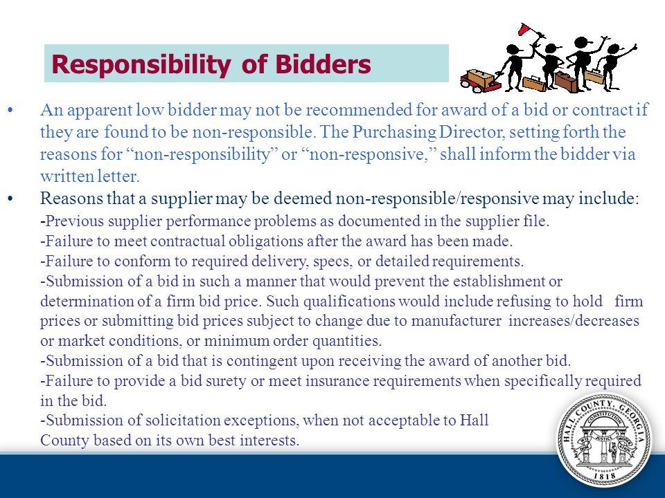 Responsibility of Bidders