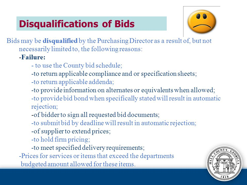 Disqualifications of Bids