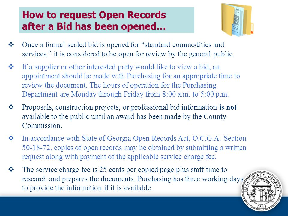 How to request Open Records after a Bid has been opened…
