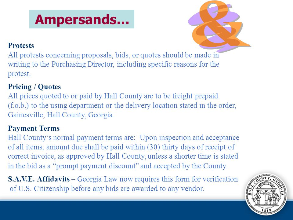 Ampersands… Protests. All protests concerning proposals, bids, or quotes should be made in.