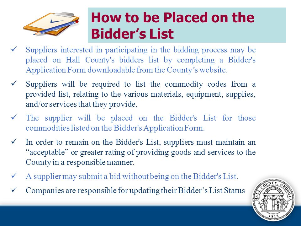 How to be Placed on the Bidder's List
