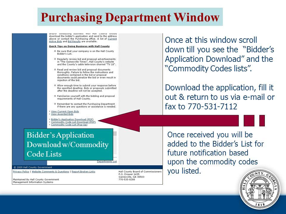 Purchasing Department Window