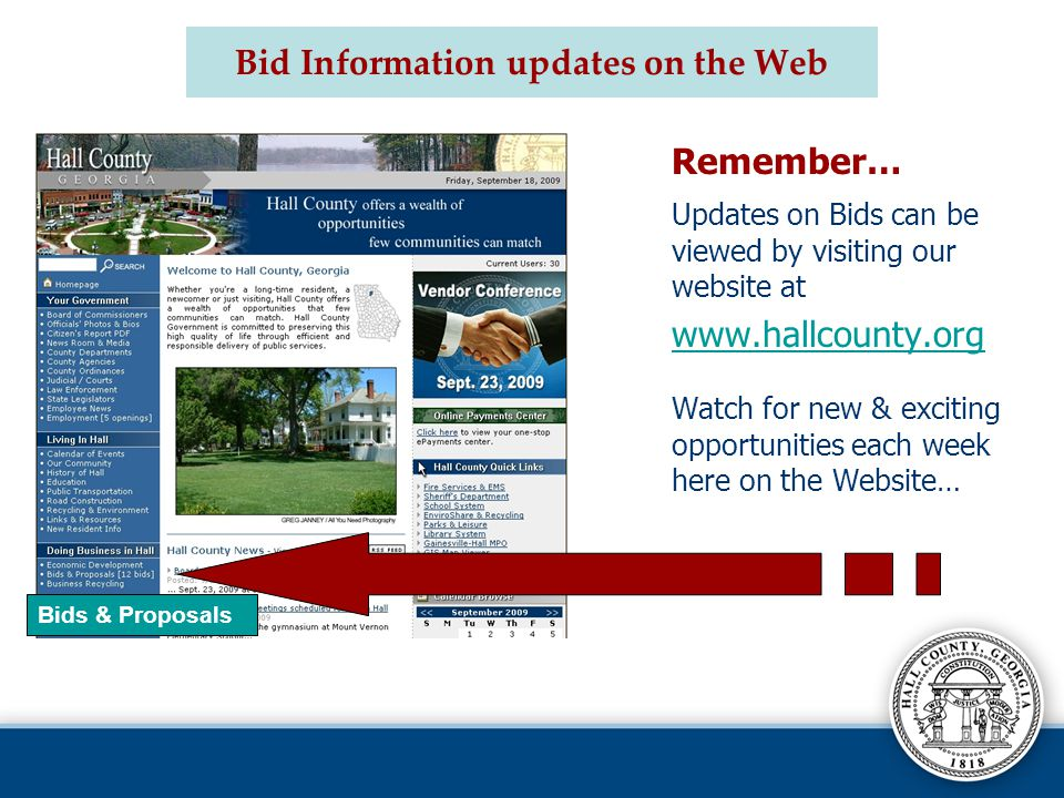 Bid Information updates on the Web