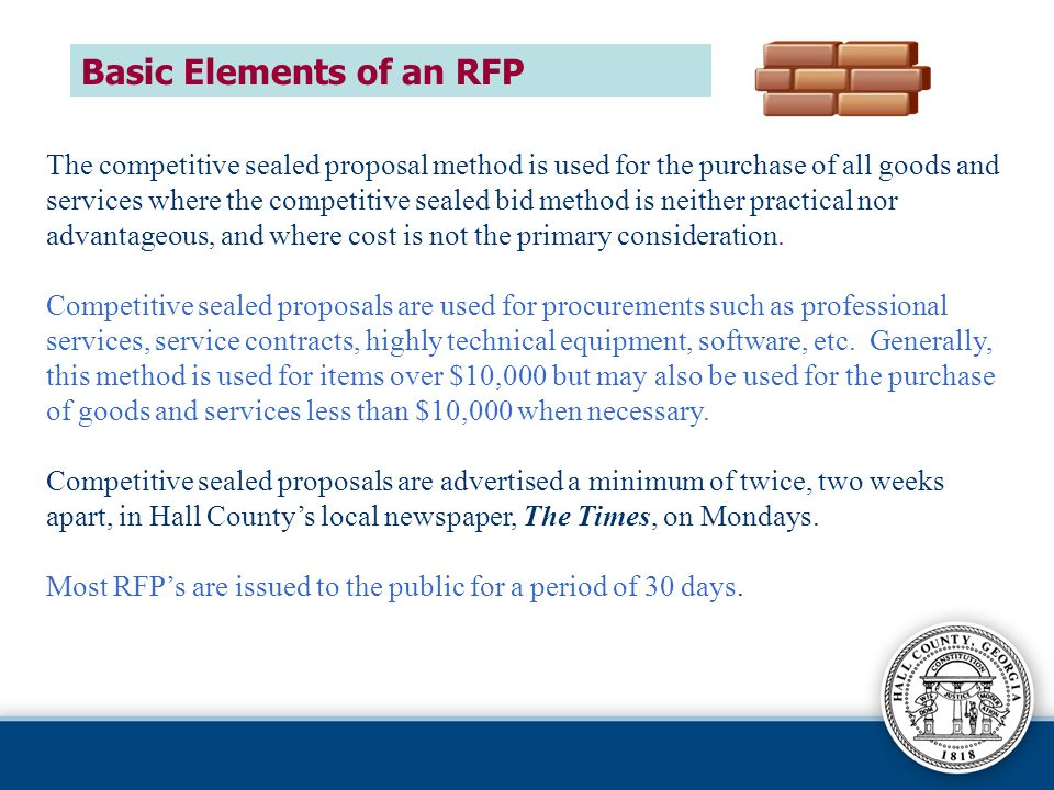 Basic Elements of an RFP