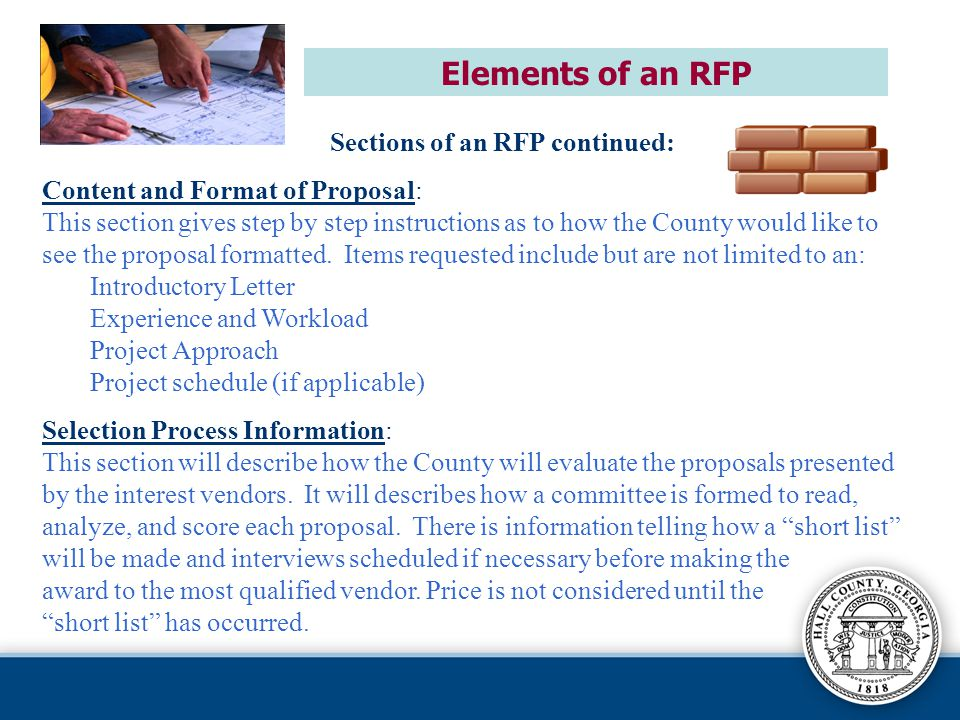 Elements of an RFP Sections of an RFP continued: