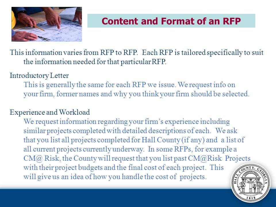 Content and Format of an RFP