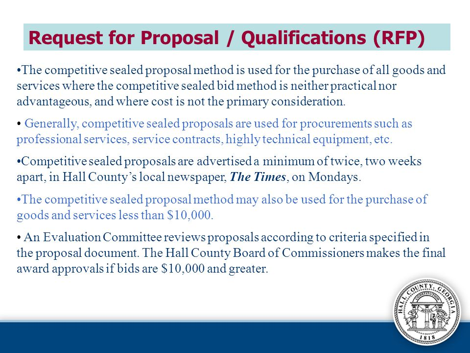 Request for Proposal / Qualifications (RFP)