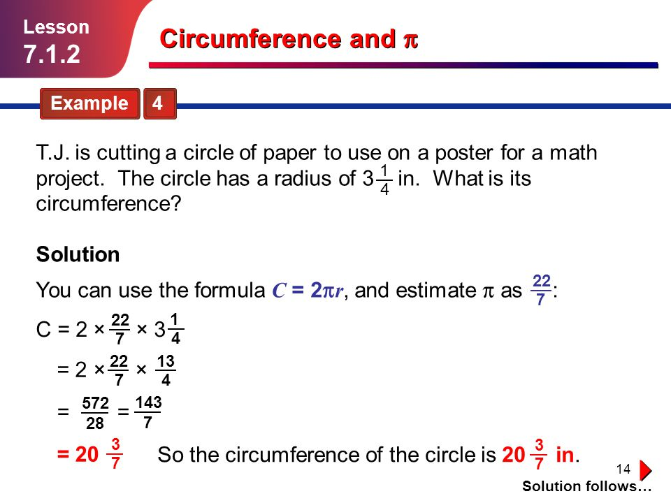 Lesson 7.1.2. Circumference and p. Example 4.